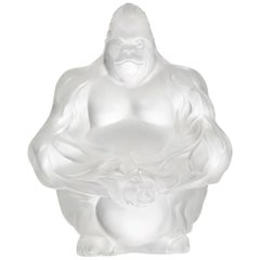 Lalique Gorilla Sculpture Clear Crystal