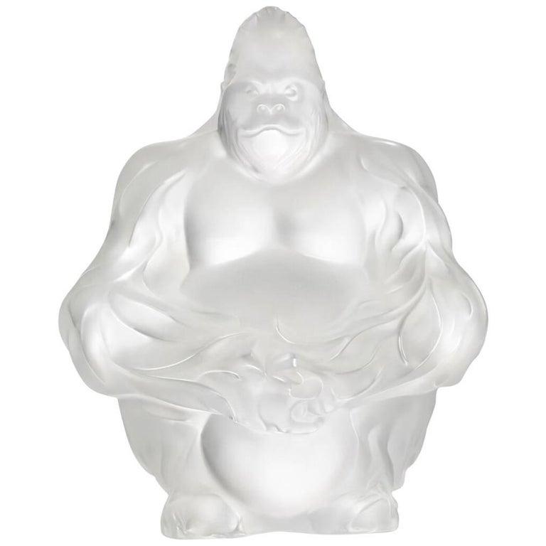 Lalique Gorilla Sculpture Clear Crystal