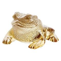 Lalique Gregoire Frog Gold Luster Crystal