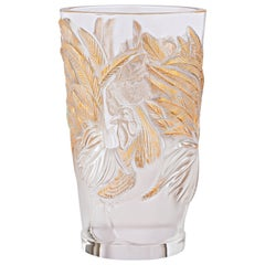 Lalique Rooster Vase Clear Crystal/Gold Stamped Ltd Ed 888