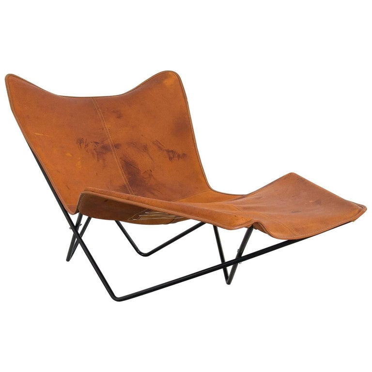 """""""Butterfly"""" Style Chaise Longue in Iron and Leather, Brazil, 1960s"""