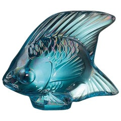 Lalique Fish Sculpture Turquoise Luster Crystal