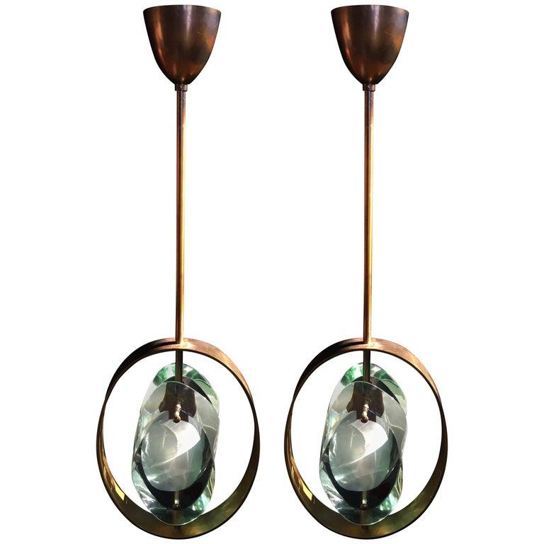 Original Pair of Pendants by Max Ingrand for Fontana Arte, Model 1933, 1961