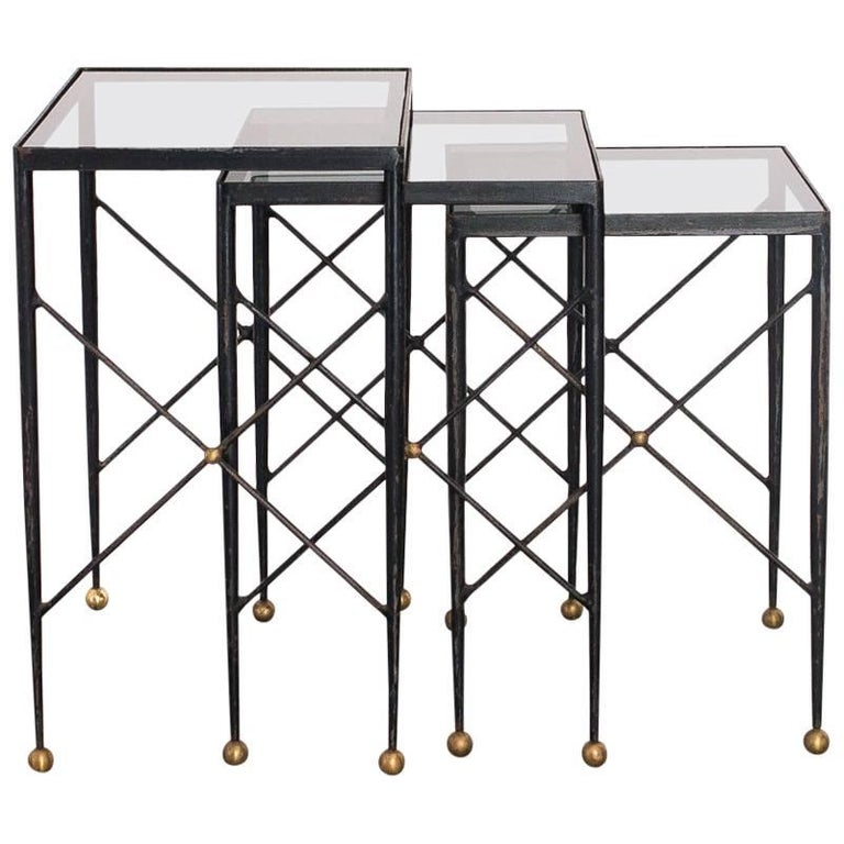 French Iron and Glass Nesting Tables in the Manner of Jean Royère, 1950s