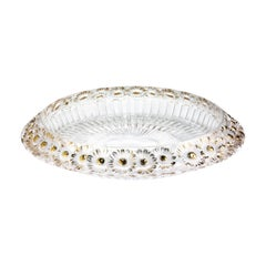 Lalique Marguerites Bowl Clear Crystal/Gold Large