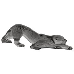 Lalique Zeila Small Panther Sculpture Gray Crystal