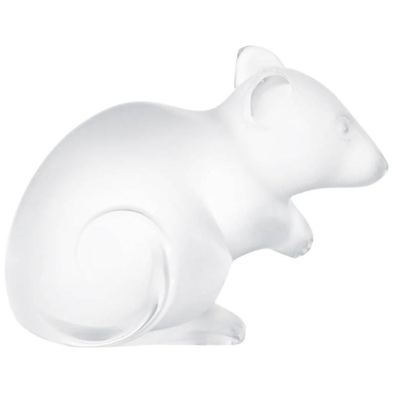 Lalique Mouse Seal Clear Crystal For Sale