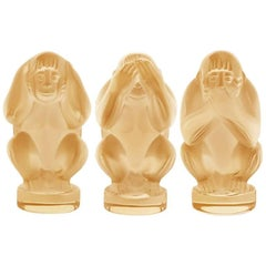 Lalique Wisdom Three Wise Monkeys Set Lustre