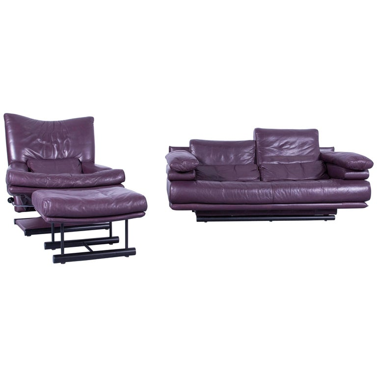 rolf benz 6500 designer leather sofa set purple three seater armchair at 1stdibs. Black Bedroom Furniture Sets. Home Design Ideas