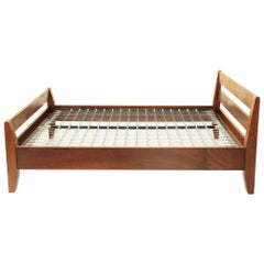 Italian Midcentury Wooden Bed by Bernini, 1960s