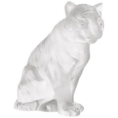 Lalique Sitting Tiger Sculpture Clear Crystal