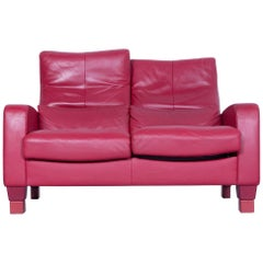Erpo Designer Sofa Leather Red Two-Seater Couch Modern Recline Function