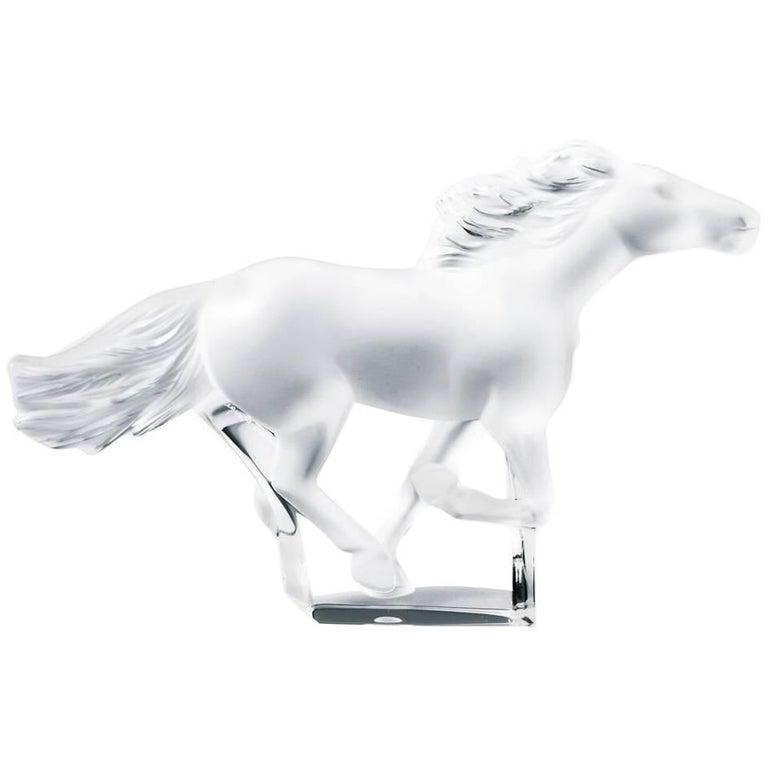 Lalique Kazak Running Horse Sculpture Clear Crystal For Sale