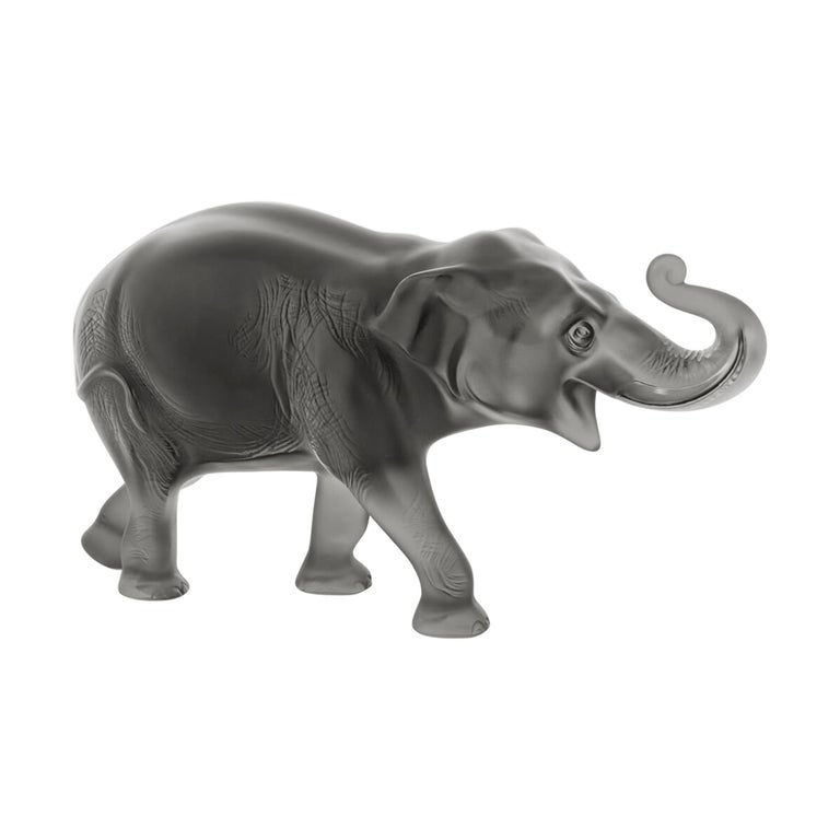 Lalique Sumatra Elephant Figure Gray Crystal Limited Edition 288 For Sale