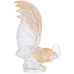 Lalique Bantam Rooster Sculpture Clear Crystal