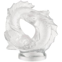 Lalique Medium Double Fish Figure in Clear Crystal
