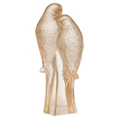 Lalique Two Parakeets Sculpture in Beige Crystal