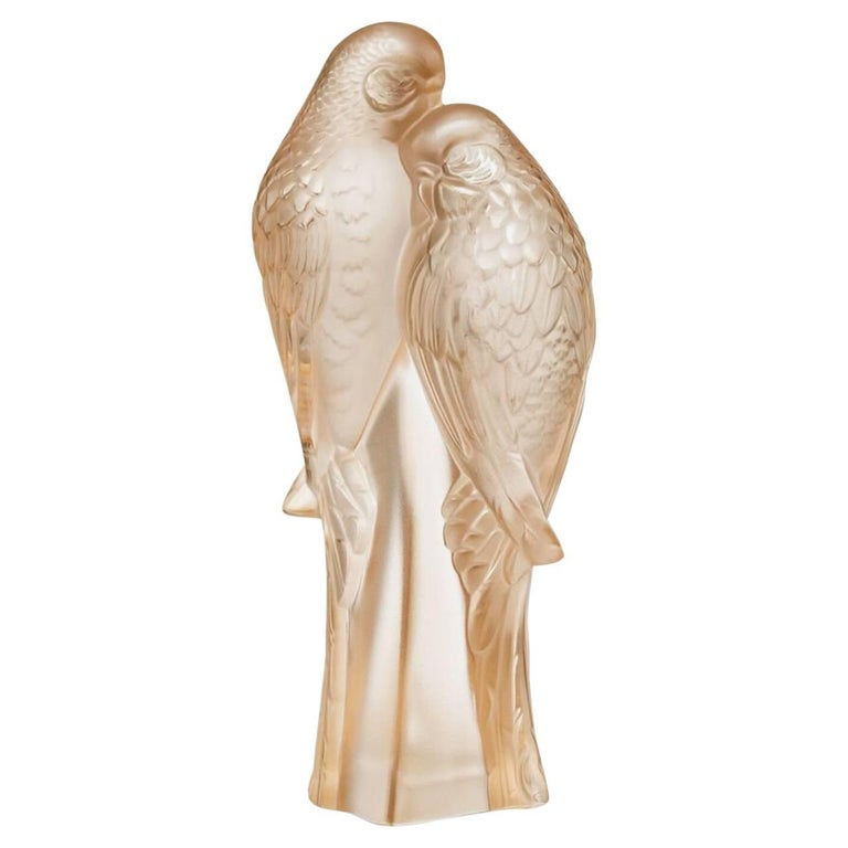 Lalique Two Parakeets Sculpture Clear Crystal