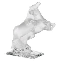 Lalique Two Wild Horses Clear Crystal Sculpture Numbered Edition