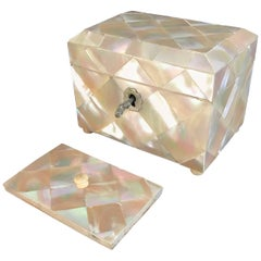 19th Century Antique Mother-of-pearl Tea Caddy Box with Silver Lock & Hinges