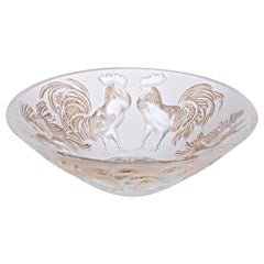 Lalique Rooster Bowl Clear Crystal/Gold Stamped Ltd Ed 888