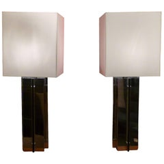 "Pair of 1970s Italian ""Modernist"" Table Lamps in Chromed Steel, circa 1970"