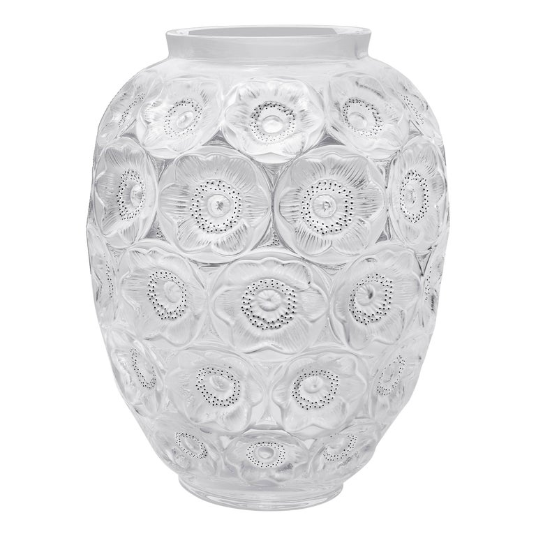 Lalique Anemones Vase Clear Crystal/Black Enamel Extra Large