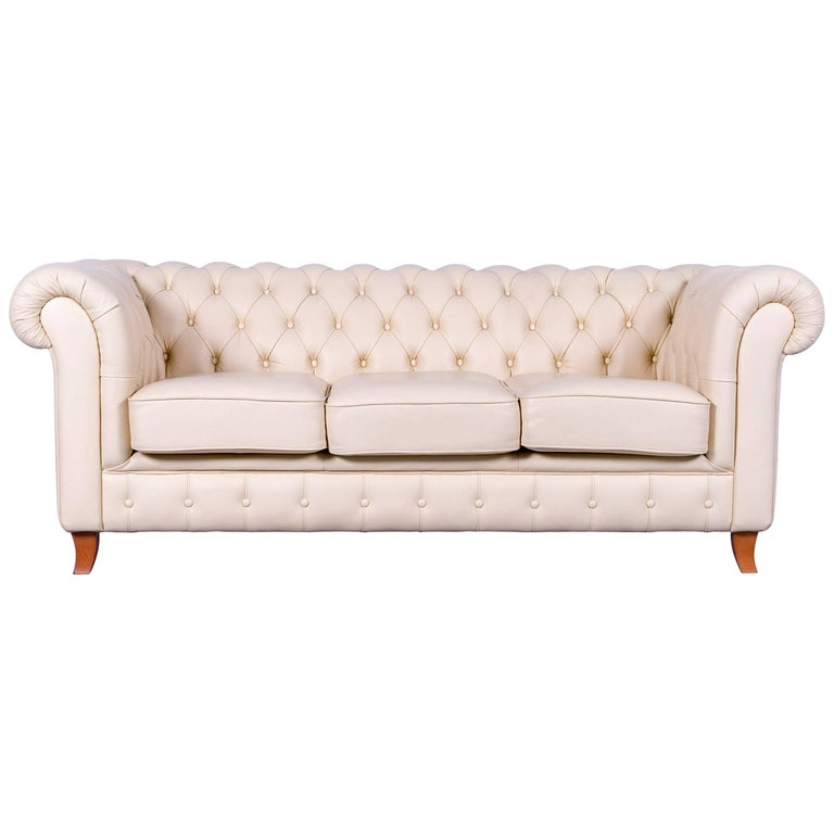 Chesterfield Leather Sofa Off White Couch Vintage Three Seater For