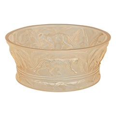 Lalique Jungle Bowl Clear Crystal/Gold Luster