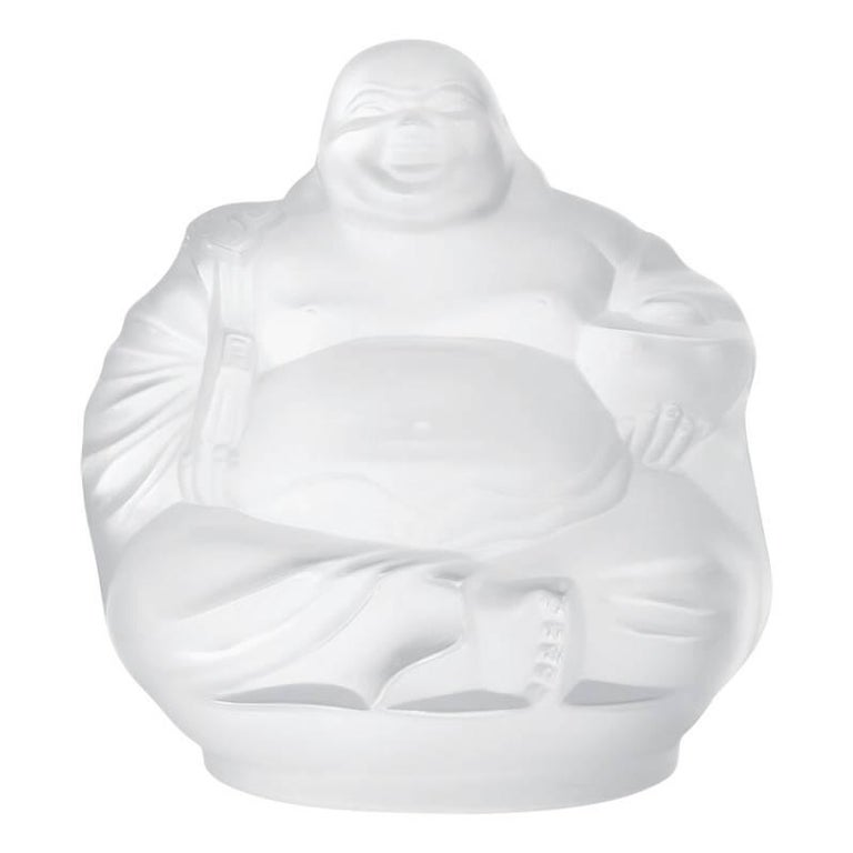 Lalique Happy Buddha Sculpture Clear Crystal