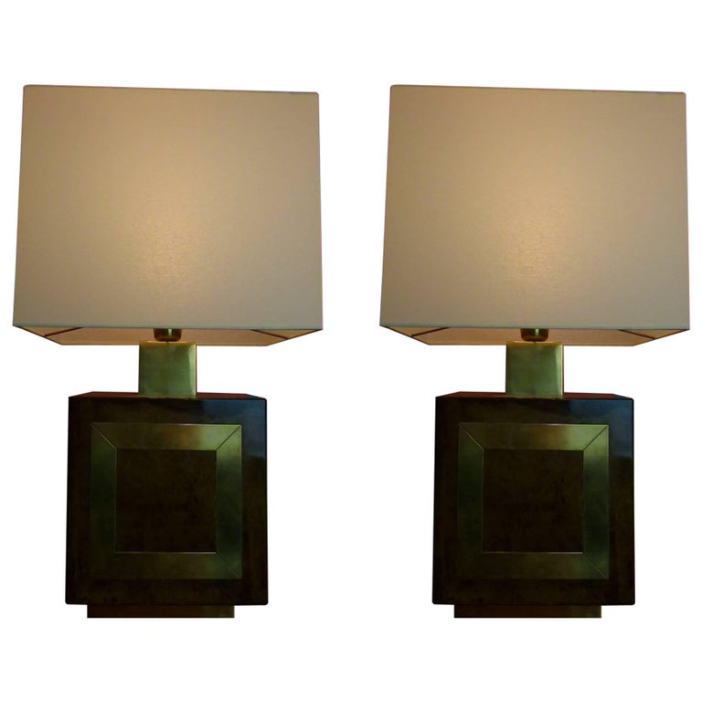 Pair of 1960s Italian Parchment and Brass Table Lamps by Aldo Tura For Sale