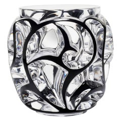 Lalique Tourbillons Vase Clear Crystal/Black Enamel Extra Large Numbered Edition