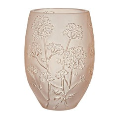 Lalique Medium Ombelles Vase in Gold Luster Crystal