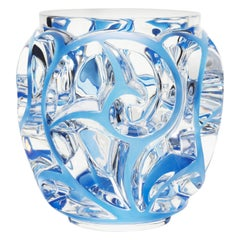 Lalique Extra Large Tourbillons Vase in Clear & Blue Patina Crystal Ltd Ed 288