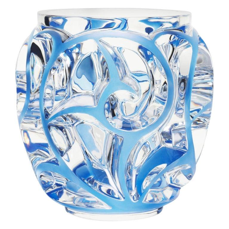 Lalique Tourbillons Vase Clear Crystal/Blue Patina Extra Large Ltd Ed 288