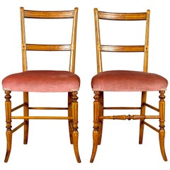 Pair of Antique Chairs, Upholstered, Victorian, English Walnut, Side, circa 1880