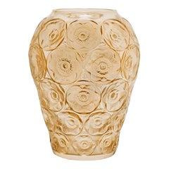 Lalique Anemones Vase Gold Luster Crystal