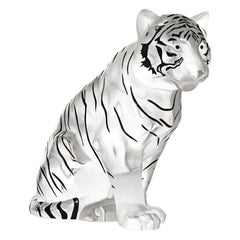 Lalique Sitting Tiger Grand Sculpture in Black Enamel