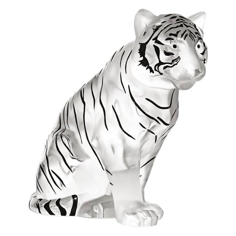 Lalique Sitting Tiger Grand Sculpture in Black Enamel For Sale