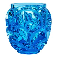 Lalique Tourbillons Vase in Light Blue Crystal