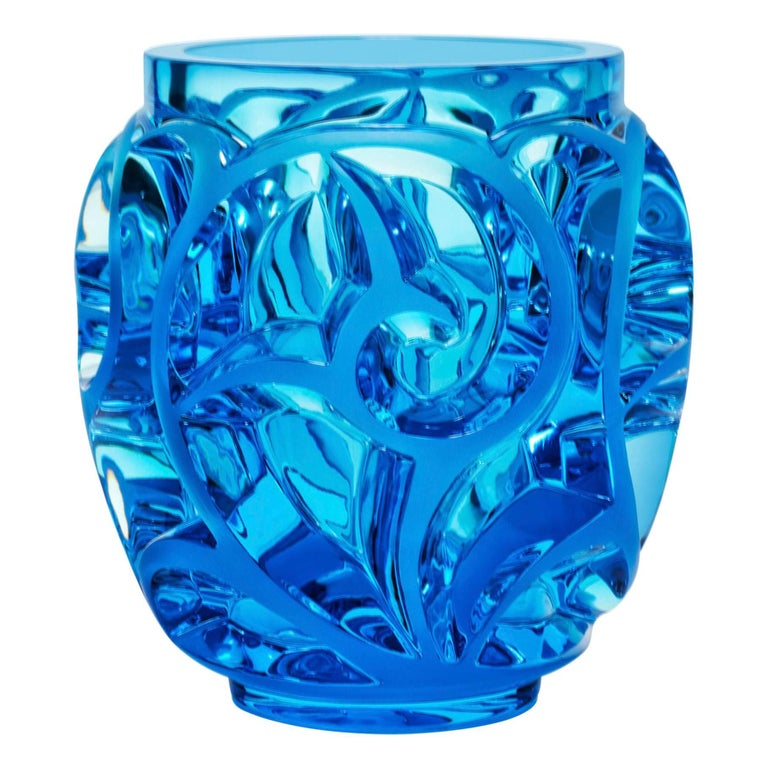 Lalique Tourbillons Vase Clear/Pale Blue Crystal Limited Edition 999