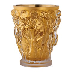 Lalique Bacchantes Grand Vase in Clear Crystal w/ Gold Leaf