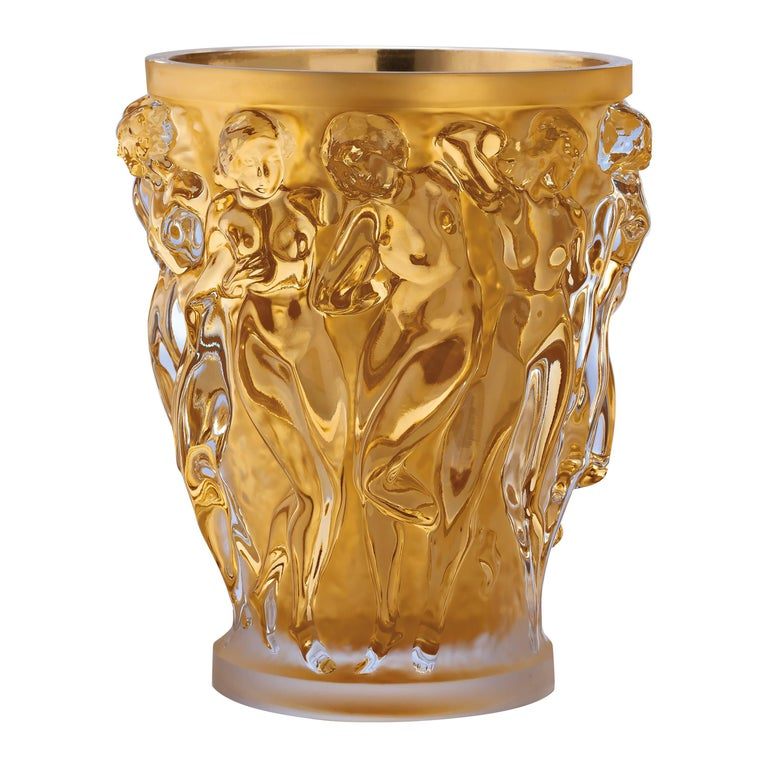 Lalique Bacchantes Grand Vase In Clear Crystal W Gold Leaf At 1stdibs