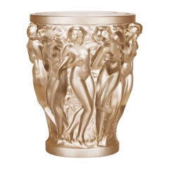 Lalique Bacchantes Vase in Gold Luster Crystal