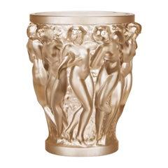 Lalique Bacchantes Vase in Gold Luster Crystal