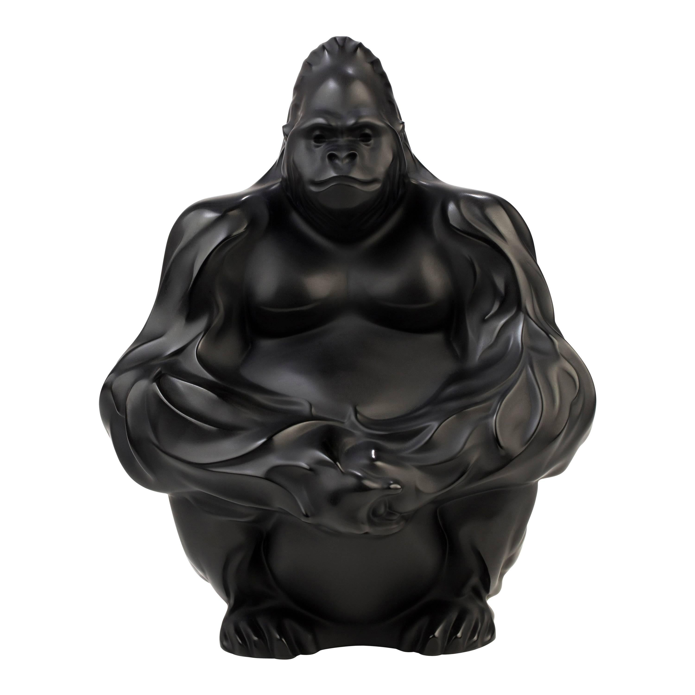Lalique Gorilla Figure/Sculpture in Black Crystal