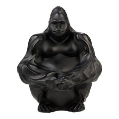 Lalique Gorilla Figure/Sculpture in Black Crystal
