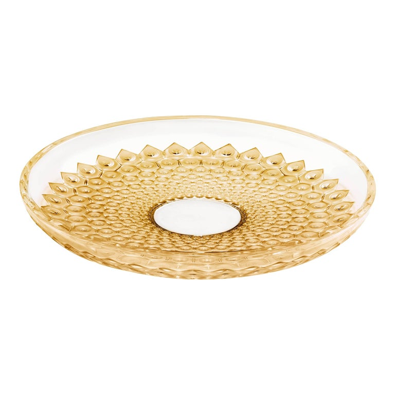 Lalique Rayons Bowl Clear Crystal/Gold Luster