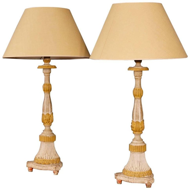 Antique Pair of French Lamps in Lacquered Wood from 19th Century