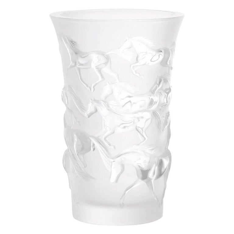 Lalique Mustang Vase Clear Crystal